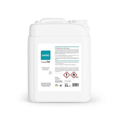 LinkDes® Antiseptik Gel, VAH gelistet, Desinfektionsgel, klebt nicht an den Händen, begrenzt viruzid EN 14476 (5 Liter)