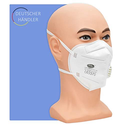 Partikelfilter Maske Typ FFP 3 NR mit Ventil - 10 Stück pro Packung - 5-lagige Atemschutzmaske gegen Staub, Rauch und festen und flüssigen Aerosolen