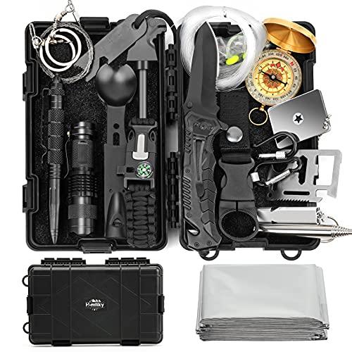 Homtiky 18 in 1 Survival Kit, Notfall Ausrüstung Outdoor, Survival Set, Survival Messer, Professionelle Überlebensausrüstung mit Erste-Hilfe-Kit für Reiseabenteuer Wandern/Camping/Jagen/Abenteuer