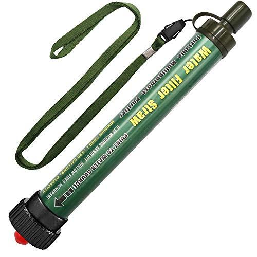 Wasserfilter Outdoor DeFe 2000L Personal Mini Tragbarer Camping Wasseraufbereitung Entfernt 99.99% Bakterien Filter auf 0,01 Microns für Wandern Trekking Reisen Abenteuer und Notbereitschaft (Grün)